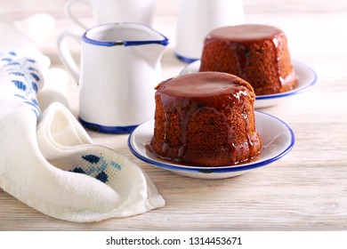 Sticky date toffee pudding with caramel topping