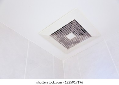 sticky and dirty full of dust exhaust ventilation fan on ceiling with copy space