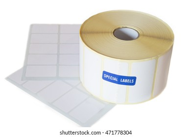 Sticky label roll on white background