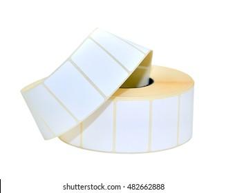Sticky label roll on white background