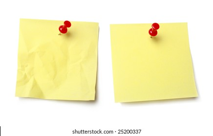 Sticky note held by a pushpin waiting for your message.