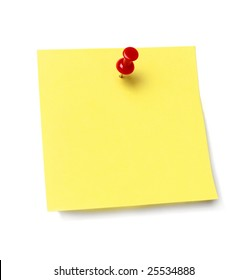 Sticky note held by a pushpin waiting for your message. Add your own text or design.