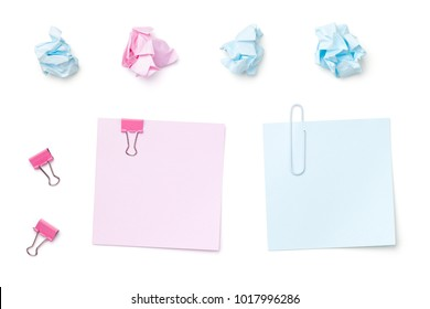 Sticky Note Paper Isolated on White Background. Pastel colors. Copy space. Top view