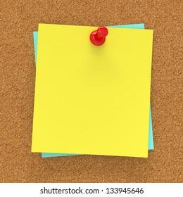 Sticky note pinned on corckboard 3d render