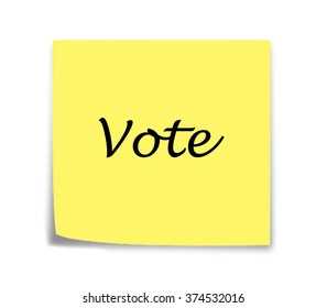 Sticky note reminder to vote in italics