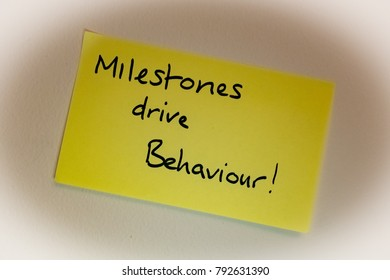Sticky note stuck on wall with the following message - Milestones drive Behaviour