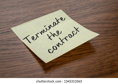 Sticky note with the text Terminate the contract