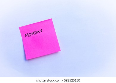 Sticky note that reads Monday