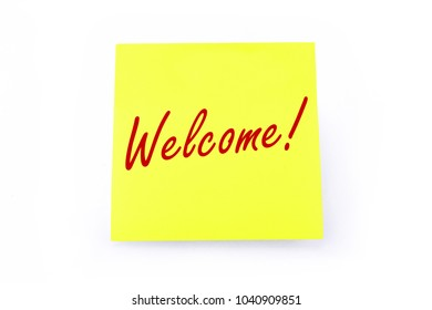 Sticky Note Yellow - Welcome! - Isolated On White Background