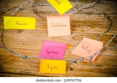 Sticky notes agains racism, a conceptual shot