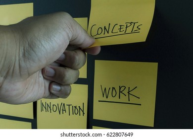 Sticky notes attached to the wall with handwriting text, business plan concept