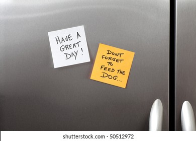 Sticky Notes on a Kitchen Refrigerator