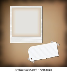 sticky notes , paper and photo , picture frame on background