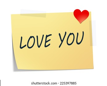 A sticky paper with the message love you
