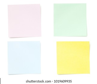 Sticky Post Note Paper Isolated on White Background. Pastel colors. Copy space. Top view