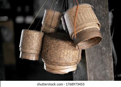 Sticky rice basket bamboo handicraft form Thailand.