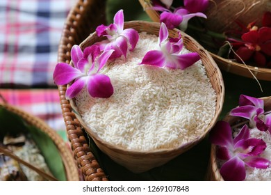 sticky rice in the basket with flower on top
