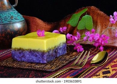 Sticky rice custard cake, dessert for wedding ceremony of Peranakan (Baba-Nyonya) culture in Phuket Thailand. Auspicious food for sweet and eternal love to wishes to bride and groom.