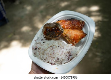 Sticky rice and grilled chicken in a plate