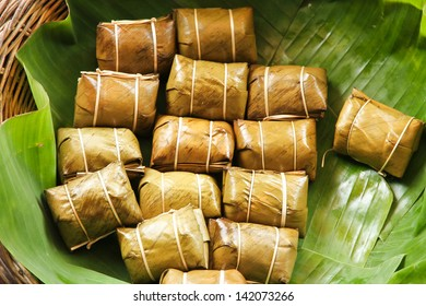 Sticky rice steamed  in banana leaf