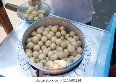 Sticky steam meat ball called Cilok ad Sundanese cheap street food