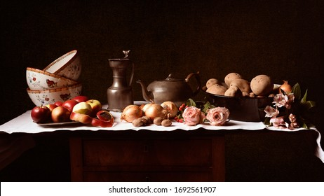 Stil life, with bowls, tin, potatoes, onions, fruit. and roses.