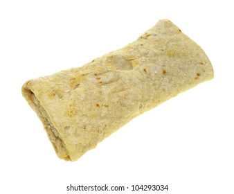 A still frozen chimichanga on a white background.