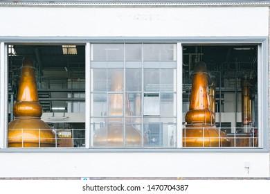 Still house in Scottish distillery
