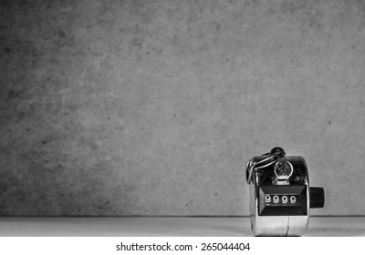 still life with 9999 point of count number on wood background. monochrome theme