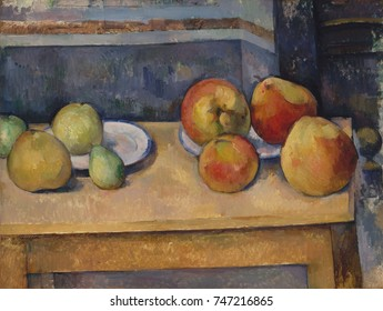 Still Life with Apples and Pears, by Paul Cezanne, 1891-92, French Post-Impressionist oil painting. The physical solidity of the fruits contrasts with the ambiguous space around them