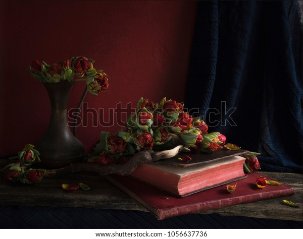 still life art with red flowers