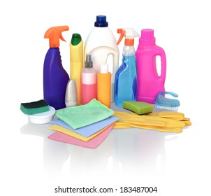 Still life of assortment of various bright means for cleaning isolated on white background. Cleaner bathroom, cleaner for glass, powder for metal products, concentrated air freshener, wipes