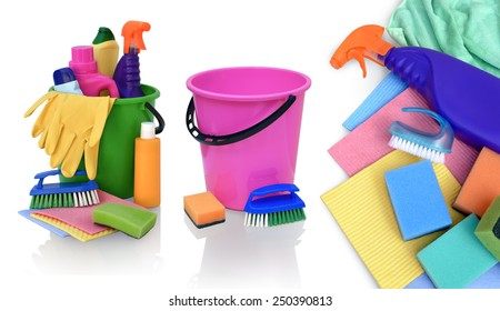 Still life of assortment of various bright means for cleaning isolated on white background.