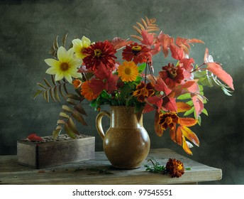 Still life with a beautiful voluptuous bunch of flowers