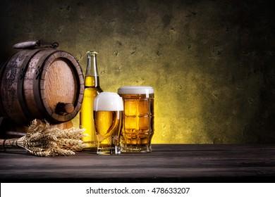 Still Life with beer on dark background