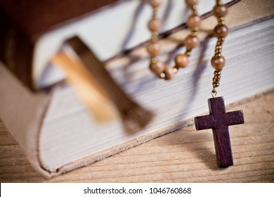 Still Life with Bible And Old Wooden Rosary