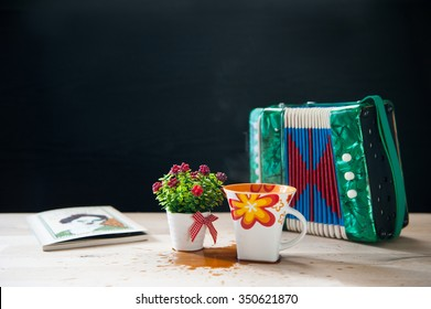 Still life book, cofee and other objects