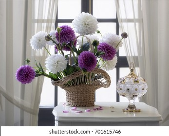 Still life  with bouquet of dahlias