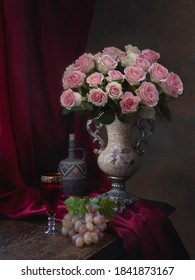 Still life with bouquet of pink roses and fruits