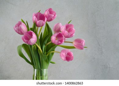 fad5097182973 Still life with a bouquet of pink tulips in vase in front of a gray wall