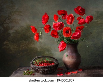 Still life with bouquet of red poppies and strawberry