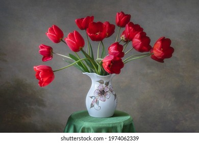 Still life with bouquet of red tulips