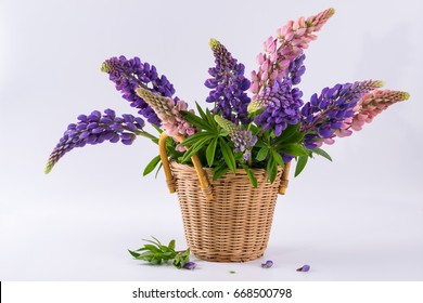 Still life with Bouquet of summer flowers in basket