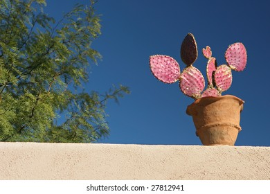 Still life with cactus in pot on the wall