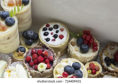 still life with cake and berries