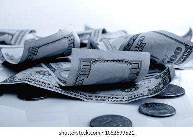 Still Life with cash dollars and cents US.