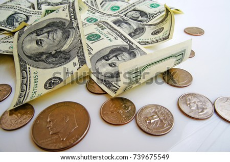 Still Life With Cash Dollars And Cents Us