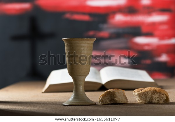Still life with chalice of wine and bread