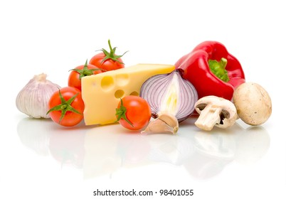 still life. cheese and ripe vegetables on white background.