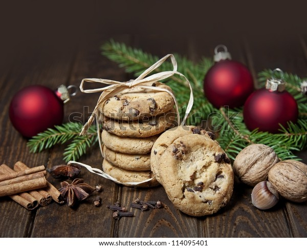 still life with christmas cookies and spice